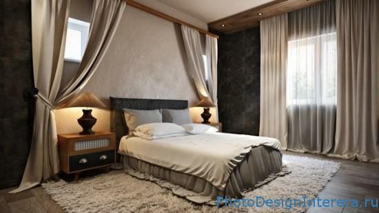Дизайн спальни с красивыми шторами фото