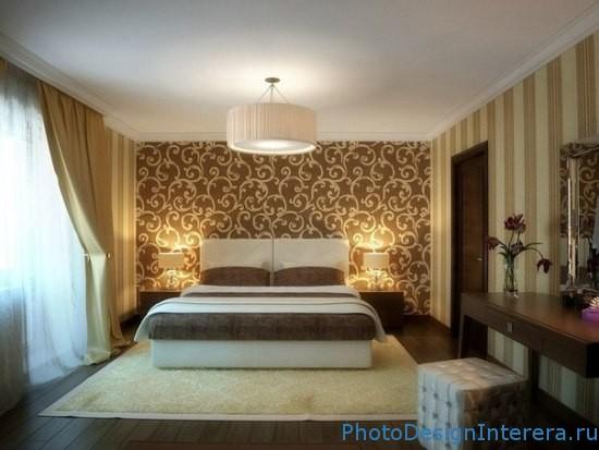 Дизайн спальни с золотистым стилем фото