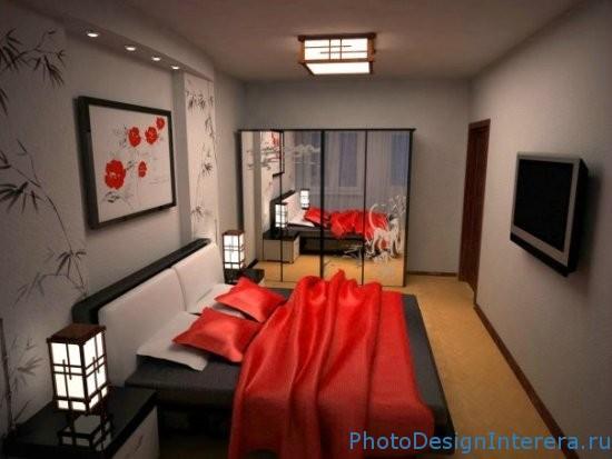Дизайн спальни в красном стилей фото