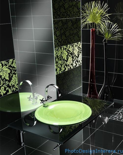 Стеклянная плитка в ванной комнате фото