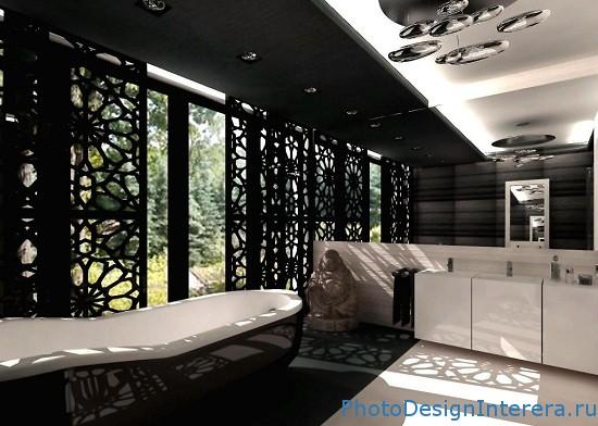Дизайн ванной комнаты в черно-белых тонах фото