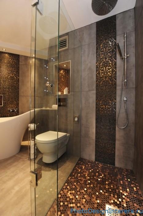 Дизайн ванной комнаты со стильной душевой кабиной фото