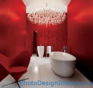 Дизайн интерьера ванной комнаты в красном цвете фото