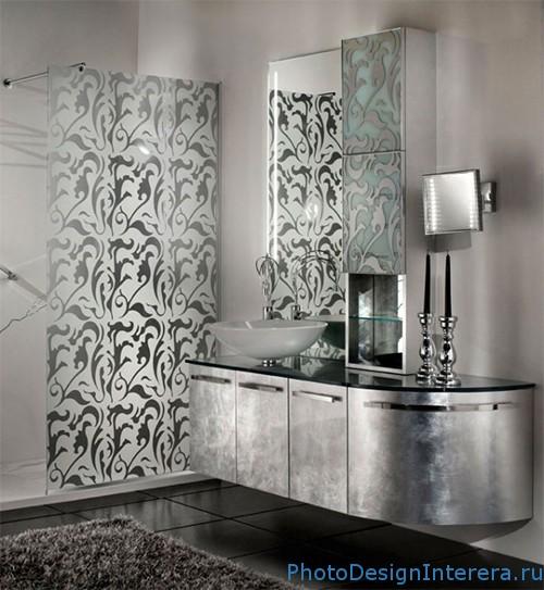 Серебристый цвет в ванной комнате фото