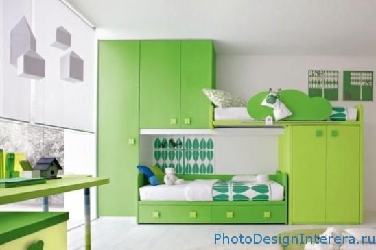 Дизайн детской комнаты зеленого цвета фото