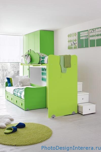 Спальная кровать в детской комнате фото