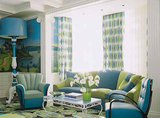 Зелено-голубой интерьер: сочетание голубого и зеленого цвета