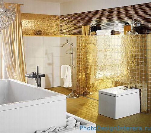 Золото в дизайне интерьера ванной комнаты фото